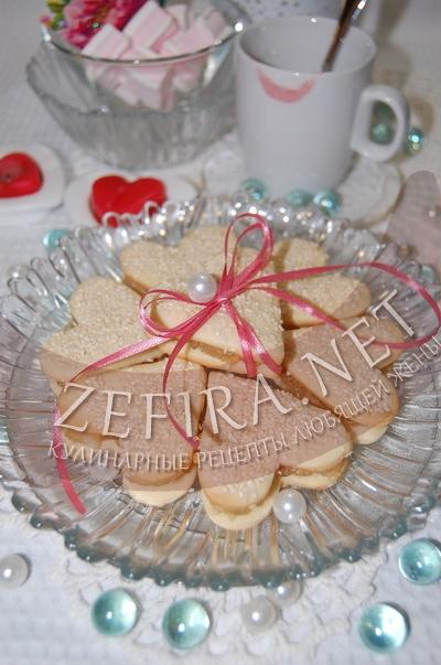 Песочное печенье с джемом в виде сердечек - рецепт и фото