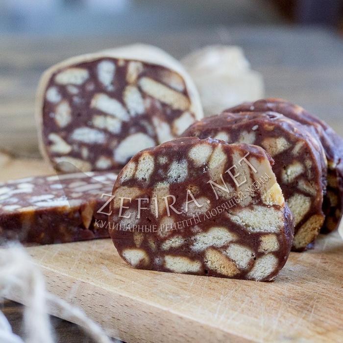 мамина шоколадная колбаса из печенья рецепт