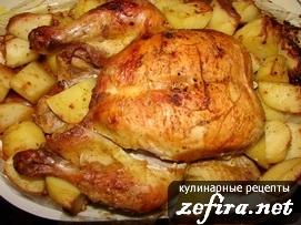картошка в духовке в пакете с курицей