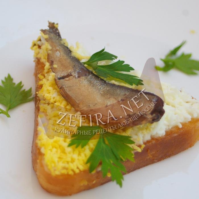Очень вкусные бутерброды со шпротами и яйцом