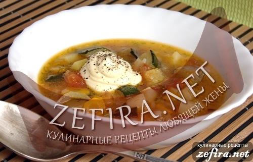 Вкусный овощной суп с кабачками