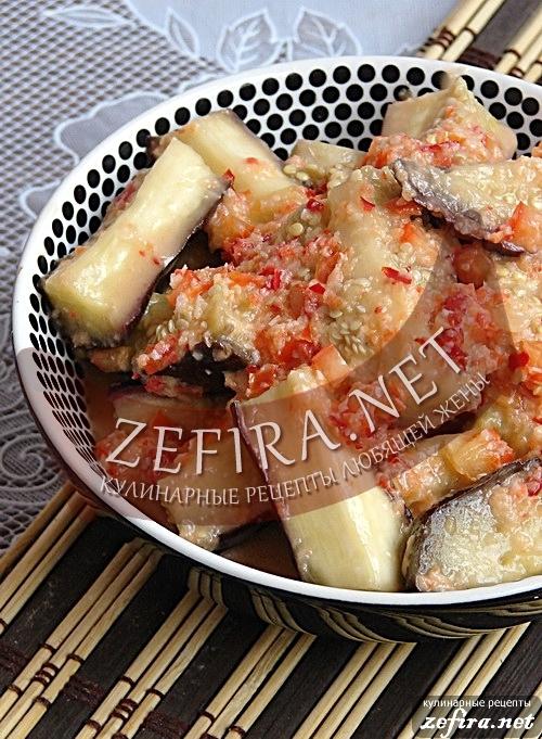 Острые баклажаны с чесноком и перцем — рецепт быстрой закуски