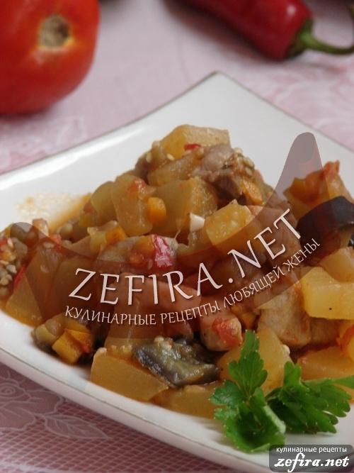 Овощное рагу с мясом и кабачками