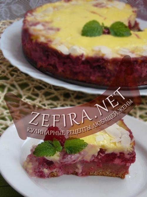 Пирожное с творожным кремом и малиной – кулинарный рецепт