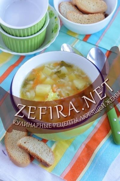 Детский рисовый суп с курицей
