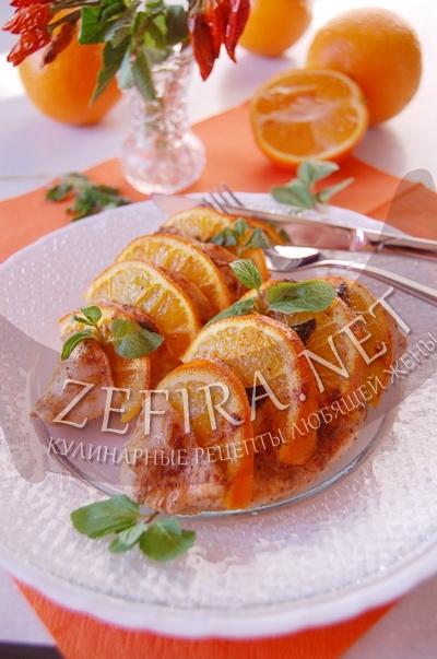 Куриное филе с апельсинами в духовке