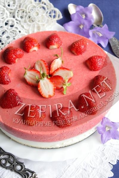 Торт-желе с клубникой - рецепт и фото