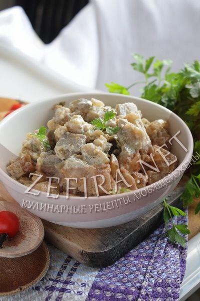 жареные баклажаны как грибы со сметаной