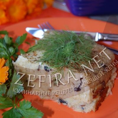 Картофельная запеканка с грибами и кабачками