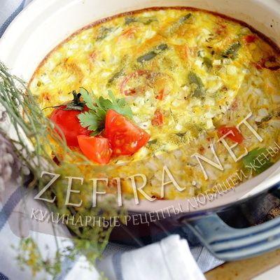 Омлет в духовке с помидорами, фасолью и кабачками