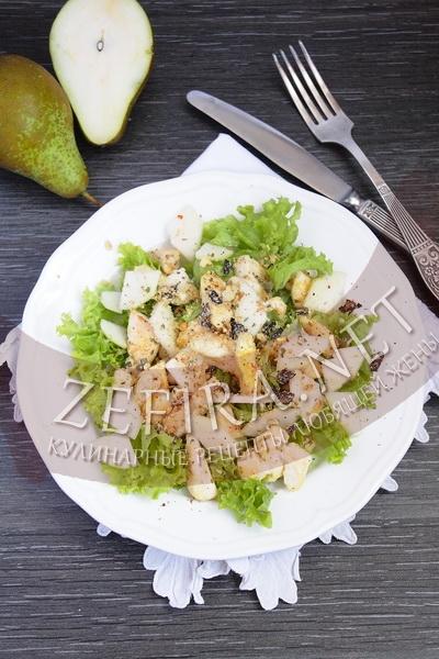 Праздничный салат из курицы с грушей