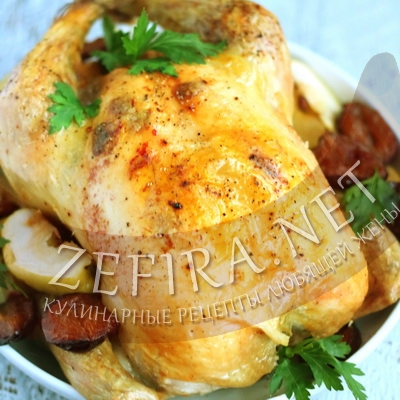 Курица в духовке запеченная с яблоками