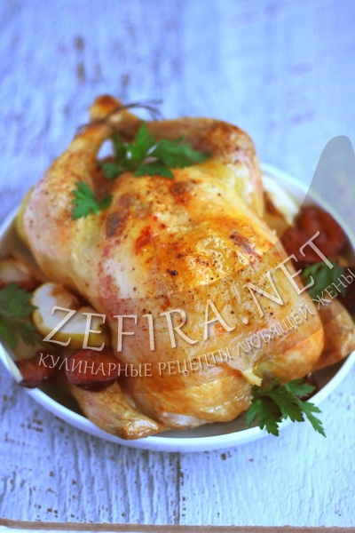Запеченная курица в духовке с яблоками рецепт пошагово 127