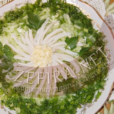 салат с кальмарами и свежими огурцами рецепт