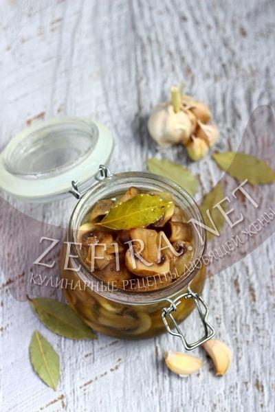Маринованные грибы шампиньоны быстрого приготовления - рецепт и фото
