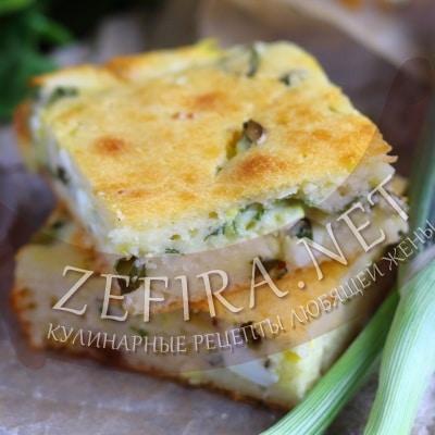 Быстрый заливной пирог с зеленым луком и яйцом