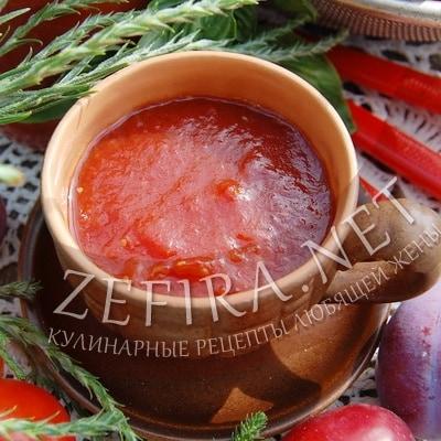 Домашний кетчуп из помидор со сливой