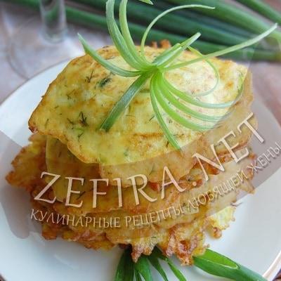 Кабачковые оладьи с сыром и укропом