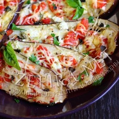 Рецепт запеченных баклажанов с помидорами и сыром