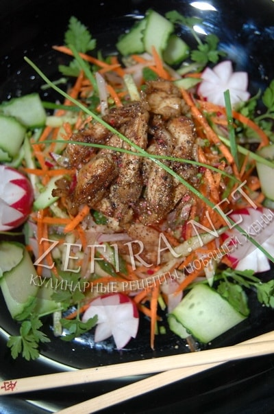 Овощной салат с курицей по-корейски - рецепт и фото