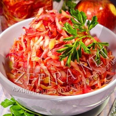 Капустный салат со свеклой, морковью и яблоком «Витаминный»