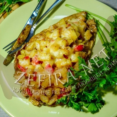 Минтай с картофелем, запеченный в духовке