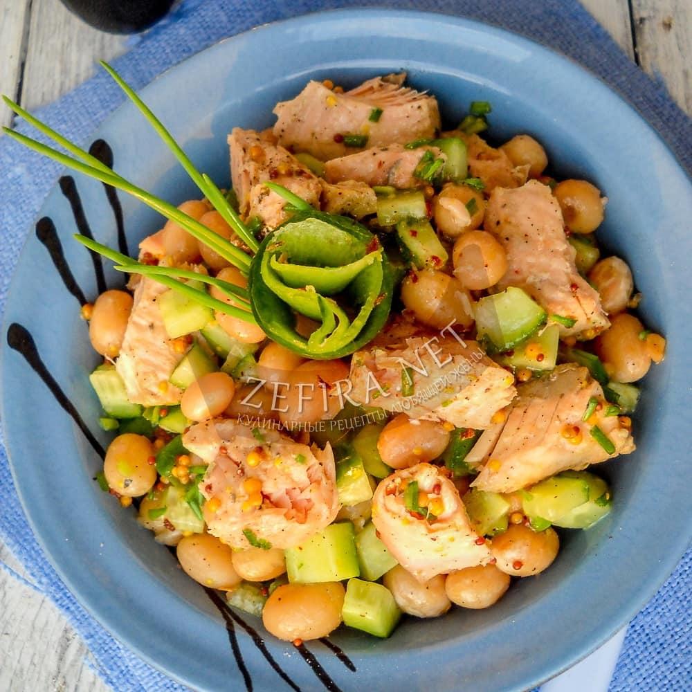 Салат из горбуши консервированной с рисом и огурцом