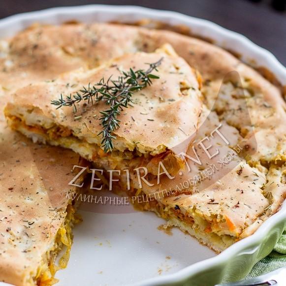 Быстрый капустный пирог на кефире