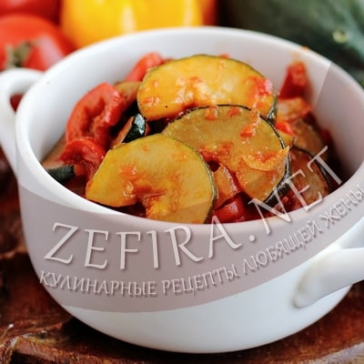 Рецепт жаренных кабачков с помидорами и перцем
