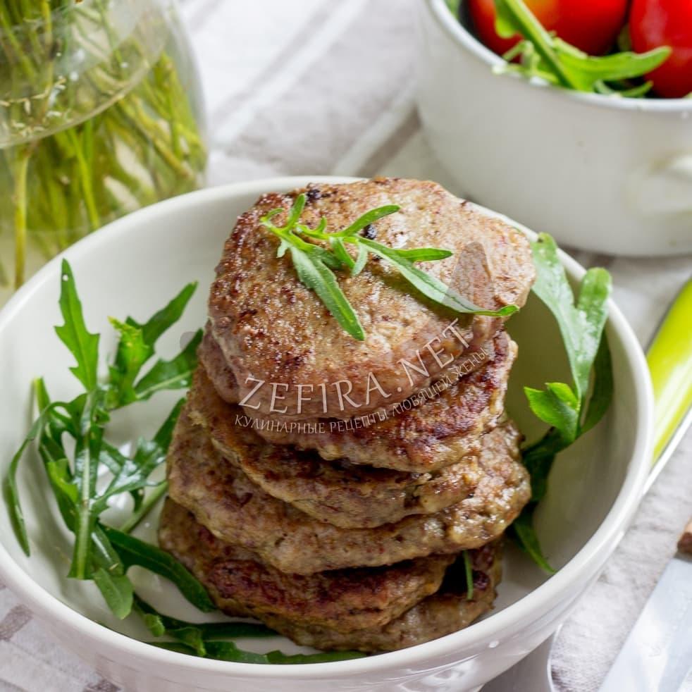 Печеночные котлеты из говяжьей печени с салом