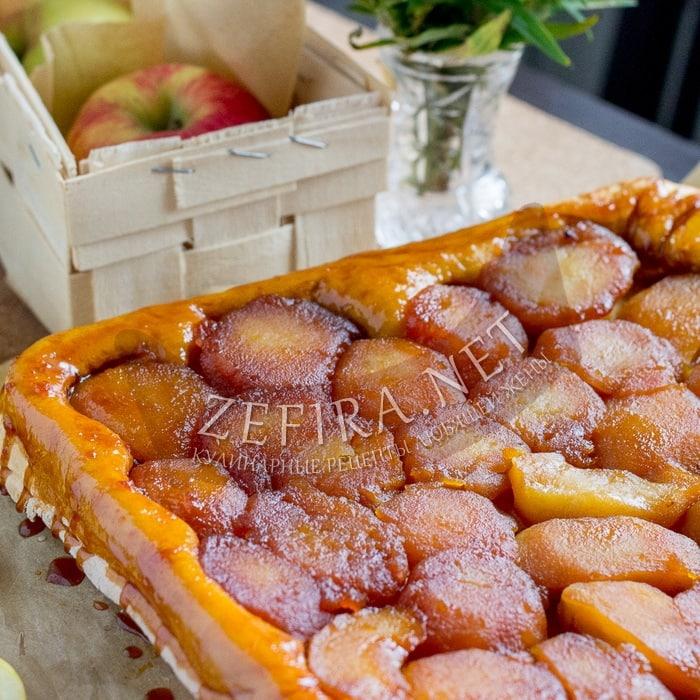 Яблочный пирог перевертыш из слоеного теста