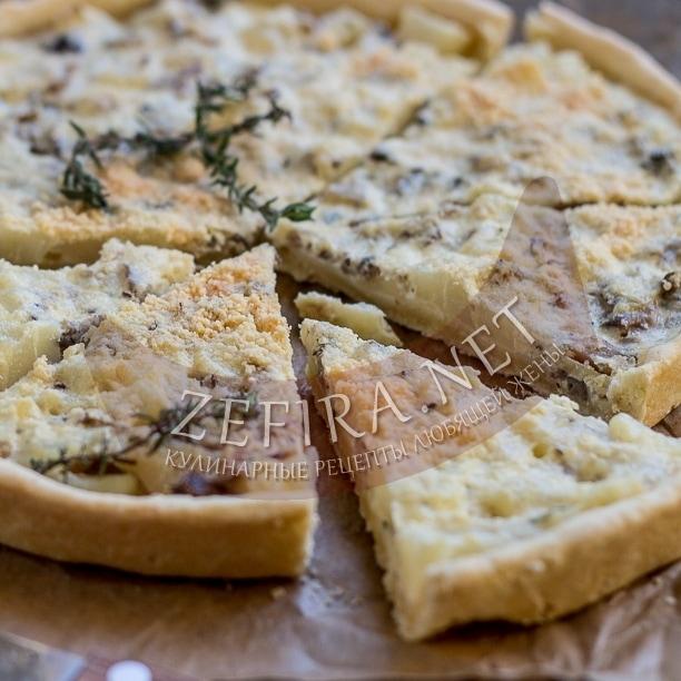 Пирог из песочного теста «Киш» с картофелем и грибами