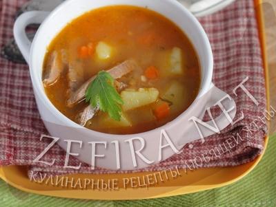 Суп с чечевицей и томатным соком