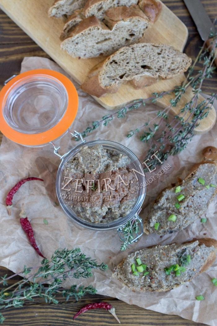 Грибной паштет из шампиньонов с чечевицей - рецепт с фото