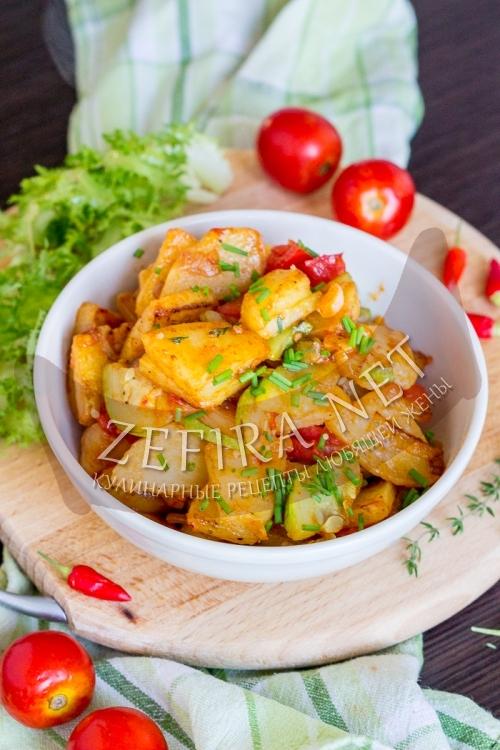 Картошка с кабачками на сковороде