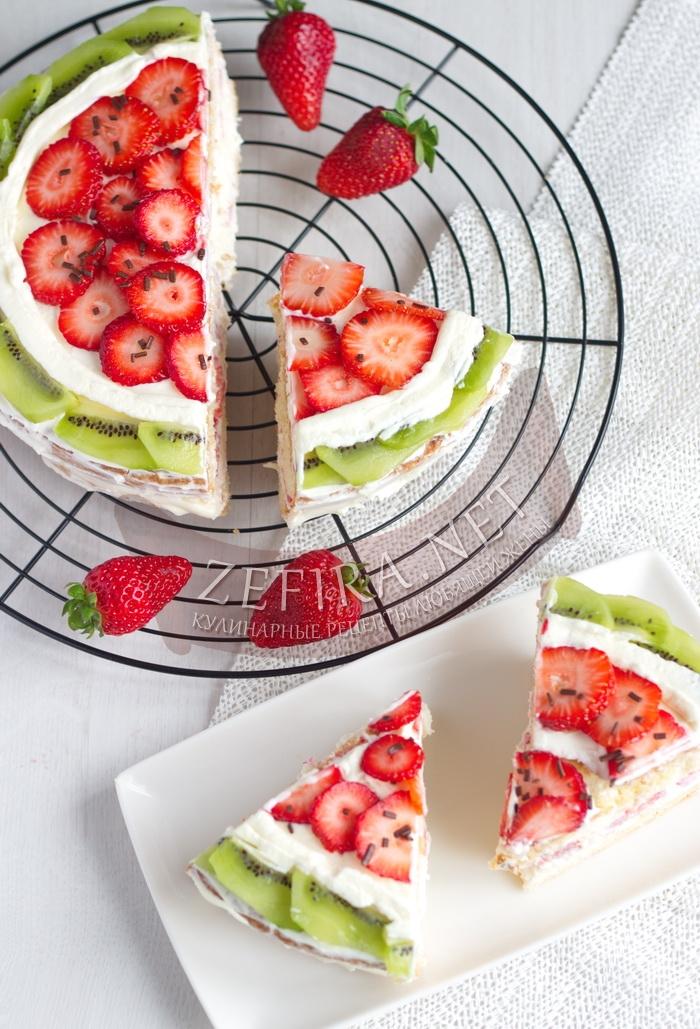Торт с клубникой и киви - рецепт с фото