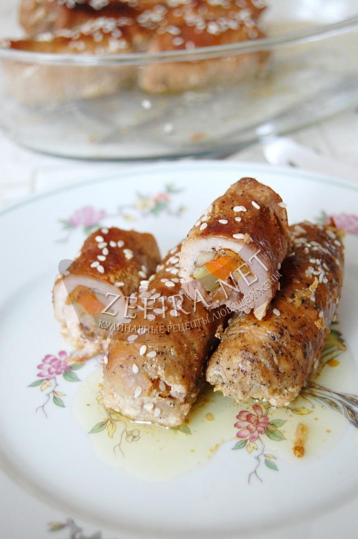 Рецепт вкусных мясных рулетиков из свинины с начинкой - рецепт и фото