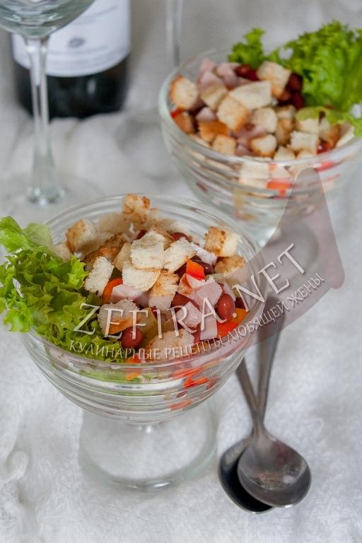Быстрый и вкусный салат с ветчиной и фасолью - рецепт и фото