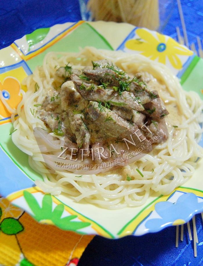 Рецепт вкусной печени в сметанном соусе с фото