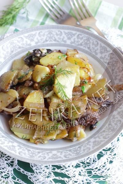 Жареная на сковороде картошка с шампиньонами - рецепт и пошаговые фото