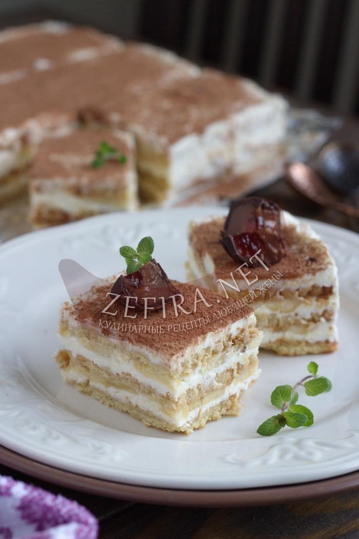 Торт из печенья с творогом и бананом без выпечки - рецепт и пошаговые фото