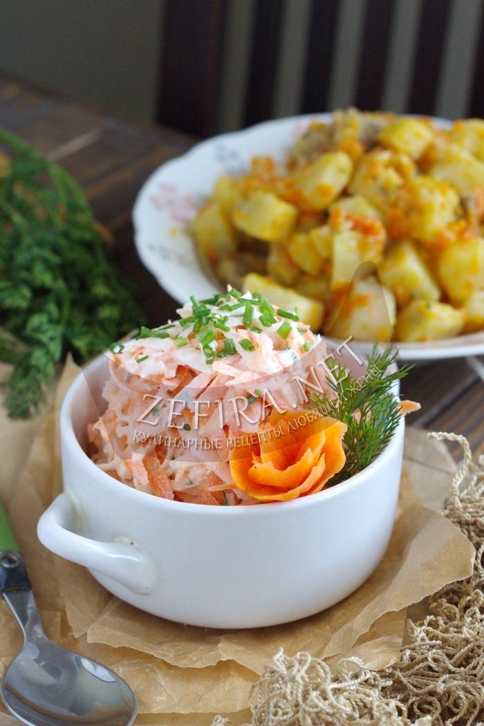 Простой и вкусный салат из редьки с морковью