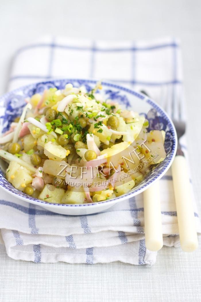 Салат с кальмарами и зеленым горшком - рецепт и фото