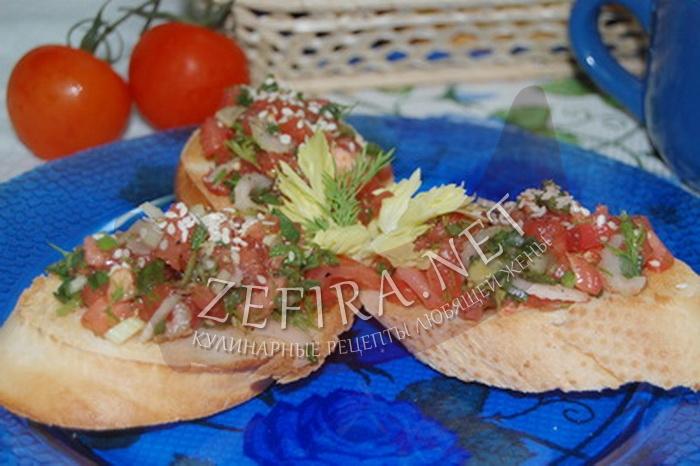 Брускетта с помидорами - рецепт и фото