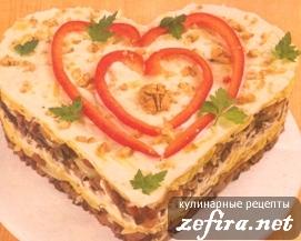 Салат из говяжьего сердца и грецких орехов