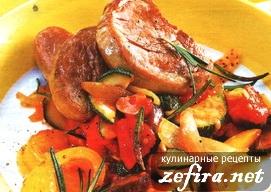 Свинина, жареная, с овощным гарниром
