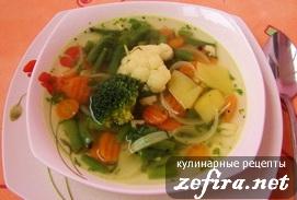 Овощной суп на бульоне из языка