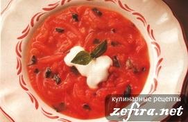Суп из помидоров с базиликом