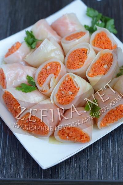 Маринованные голубцы с морковкой