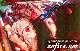 Мясо, фаршированное клюквой